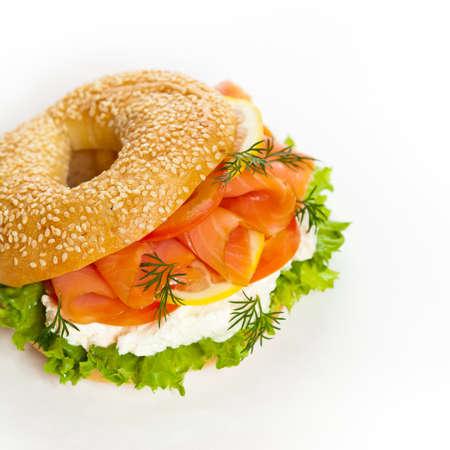Cream cheese and smoked salmon bagel photo