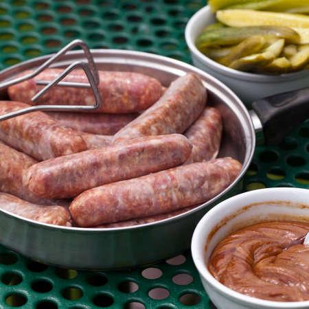 Raw sausages  Selective focus  photo