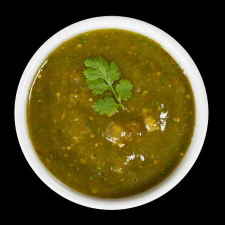 party food: Fresh Homemade Salsa Verde Stock Photo