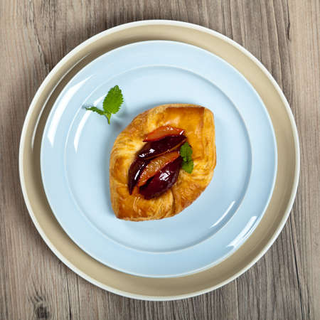 danish puff pastry: Plums pastries.