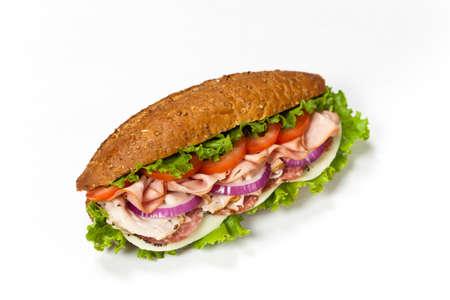 Homemade Italian Sub Sandwich with Salami, Tomato, and Lettuce photo