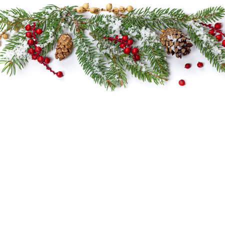 pine three: Christmas Decorations Isolated on White Background. Selective focus.