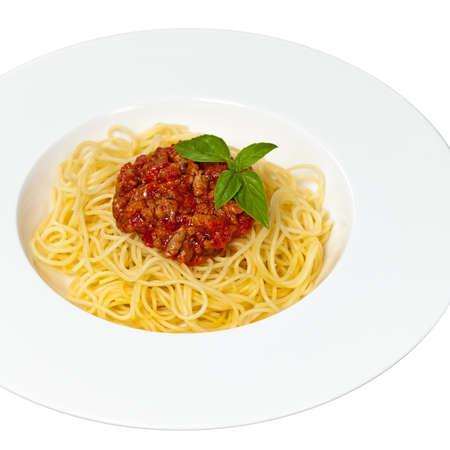 comida italiana: Comida italiana. Espaguetis a la bolo�esa