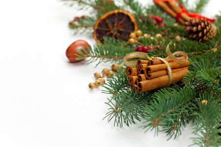 Holiday Decorations. Christmas composition. photo