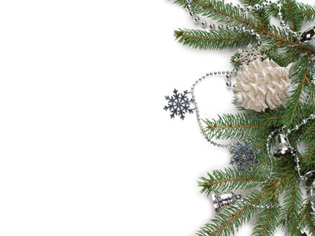 Christmas composition with snow and Christmas decoration photo