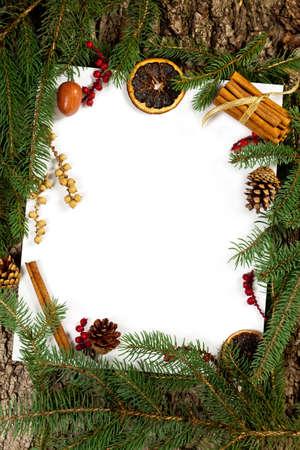 Christmas background. Christmas seasonal border on paper. Selective focus. photo