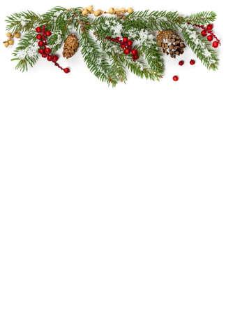 Holiday Decorations. Christmas background. Christmas seasonal border on paper.