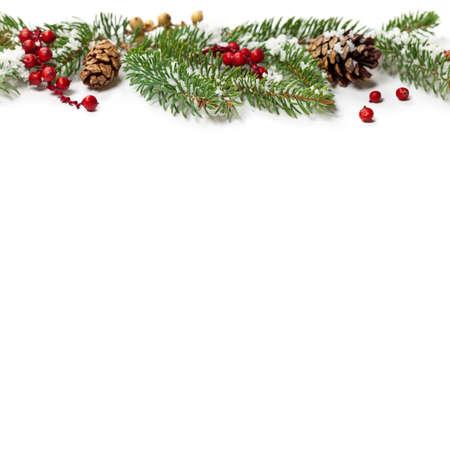Holiday Decorations. Christmas background. Christmas seasonal border on paper. photo
