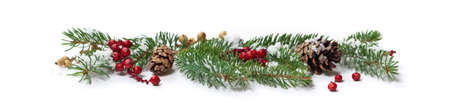 Holiday Decorations. Christmas background. Christmas seasonal border on paper.