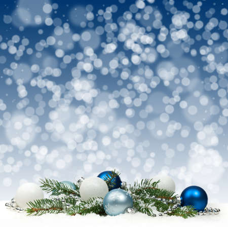 Christmas card with blue and white balls photo