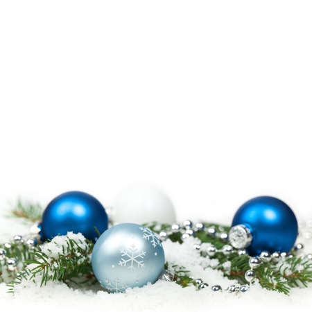 Christmas blue and silver balls, selective focus. photo