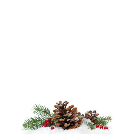 Christmas Decorations Isolated on White Background. Selective focus.