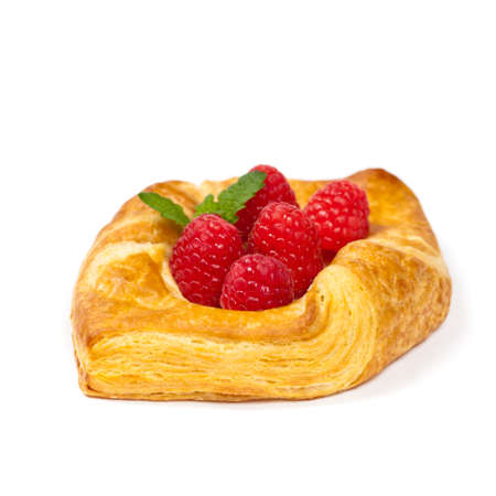 danish puff pastry: Raspberry pastries isolated on white background. Selective focus. Stock Photo