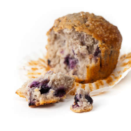 Homemade Blueberry Muffin. Selective focus. Extreme shallow DOF. photo