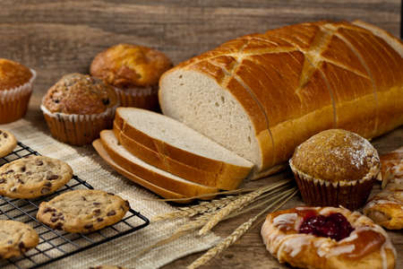 bakery products: Bakery products on wooden table. Selective focus.
