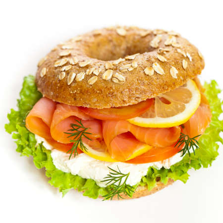 Salmon Bagel Sandwich. Selective focus.