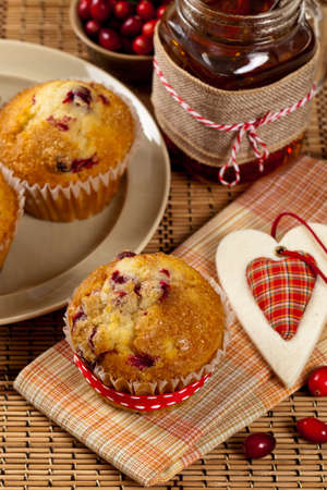 Freshly baked cranberry muffins