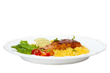 seasoned: Grilled salmon with seasoned rice on White Background. Selective focus.