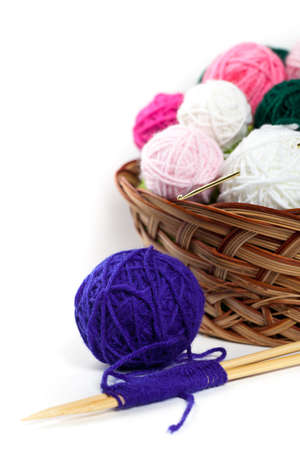 weave ball: Balls of yarn on White Background. Selective focus. Stock Photo