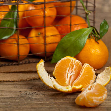 Tangerines with leaves. Selective focus. Stock Photo