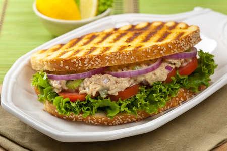 tuna mayo: Tuna Panini Sandwich. Selective focus Stock Photo
