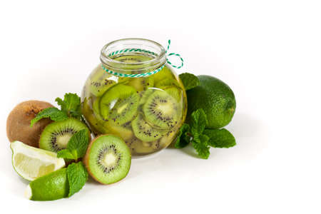 Exotic kiwi jam with lime. Selective focus. photo