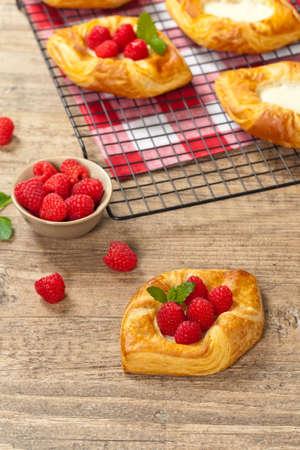 Raspberry pastries. Selective focus. photo