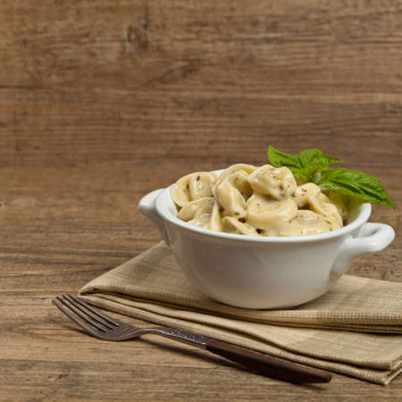 alfredo: Creamy Tortellini Alfredo. Selective focus.