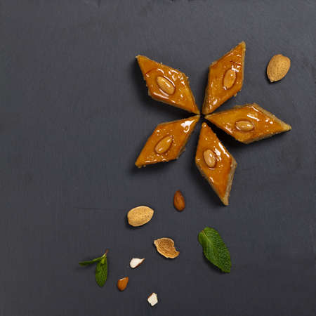 Baklava with almonds. Selective focus. Standard-Bild