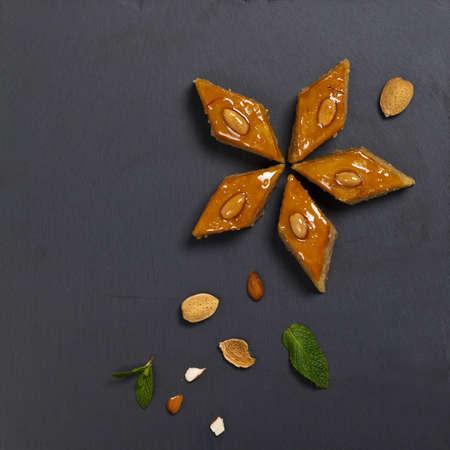baku: Baklava with almonds. Selective focus. Stock Photo
