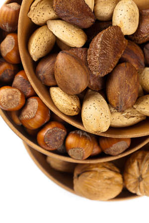 Nuts mix on white background. Selective focus. photo