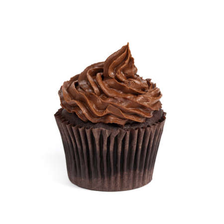 cupcakes isolated: Gourmet chocolate cupcakes. Selective focus.