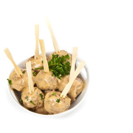 swedish: Classic Swedish Style Meatballs. Selective focus. Stock Photo