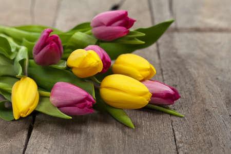 tulipan: Bukiet tulipanów na stole drewna. Selektywne fokus.