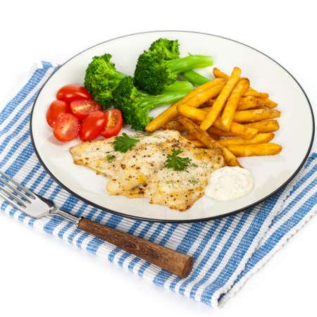 whitefish: Fish dish - white fish fillet. Selective focus. Stock Photo