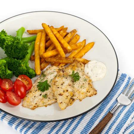 filete de pescado: Plato de pescado - filete de pescado blanco. Enfoque selectivo.