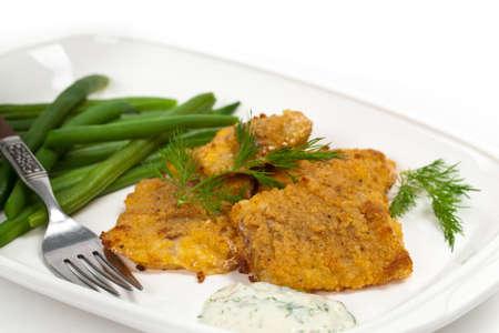 filete de pescado: Al horno filete de pescado blanco. Enfoque selectivo.