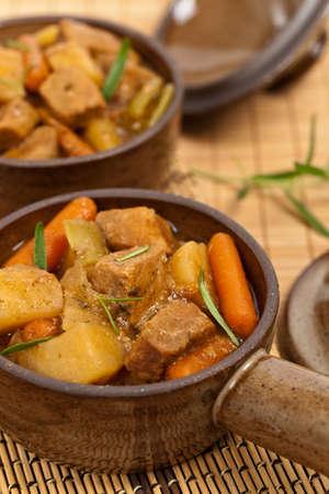 Slow Cooker Pork Stew. Selective focus.
