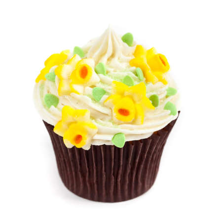 isolated on white: Gourmet Spring Easter Cupcakes. Selective focus.