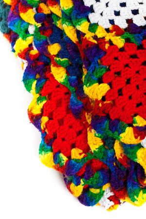 Fragment of Blanket made of granny Squares. Selective focus. photo