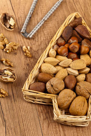 Variety of nuts. Selective focus. photo