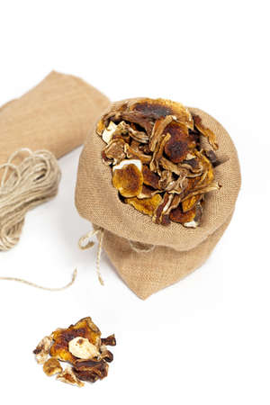 dehydrated: Dehydrated Dried Mushrooms. Selective focus.