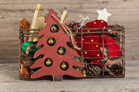 Holiday Decorations. Christmas background. Selective focus. Stock Photo