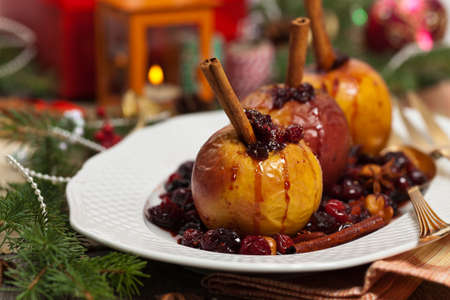 dessert plate: Baked Apples with Cinnamon. Selective focus.