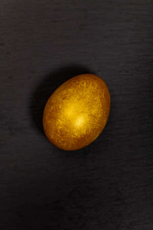 priceless: Golden egg on black background. Macro. Selective focus. Stock Photo