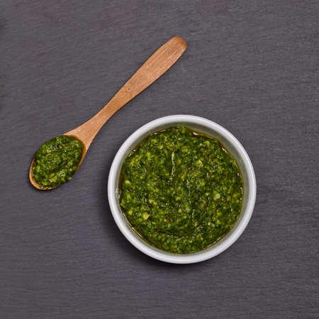 Pesto. Selective focus.