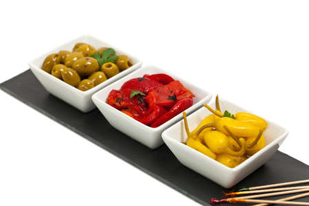 antipasto: Antipasto Appetizers Isolated on white background. Selective focus.