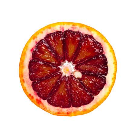 白い背景に分離されたブラッド オレンジのスライス 写真素材