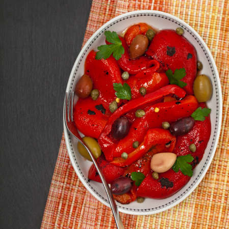 Roasted Red Pepper Salad. Selective focus.