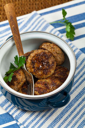 cutlets: Small Cutlets or Sausage Patties. Selective focus.